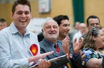 07-05-2010 - Frank Dobson MP and party supporters cheering as Labour Party win a ward from the Liberal Democrats in the Camden Council local elections 2010, in which Labour defeated the ruling Liberal Democrats Co... © Philip Wolmuth
