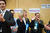 07-05-2010 - Conservative party supporters cheer as they win, holding a ward in the Camden Council local elections 2010, despite defeat of the ruling Liberal Democrats Conservative coalition by the Labour Party. © Philip Wolmuth