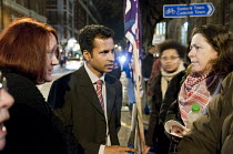 23-02-2011 - Council leader Nasim Ali talks to users of children's centres,youth clubs, and day centres for people with learning difficulties. (all threatened with closure) protest outside Camden Town Hall before... © Philip Wolmuth