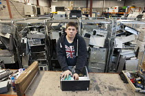 07-11-2011 - Apprentice IT Practitioner on placement at Airedale Computers, a computer recycling business run by social enterprise Chrysalis, Castleford, South Yorkshire. © Philip Wolmuth
