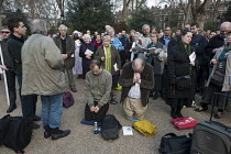 30-03-2012 - Supporters of anti-choice group 40 Days for Life hold a prayer meeting outside a British Pregnancy Advisory Service clinic in Bloomsbury, London, where they have been conducting a daily picket during... © Philip Wolmuth