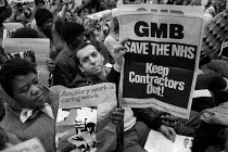 14-12-1983 - Health workers and local residents lobbying a meeting of Westminster, Kensington & Chelsea District Health Authority protesting at the decision to put catering and cleaning services at St. Mary's and... © Philip Wolmuth