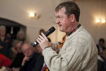 08-11-2012 - A resident asks a question about services for people with learning difficulties. Barnet Alliance for Public Services meeting called to to express resident opposition to the council's controversial One... © Philip Wolmuth
