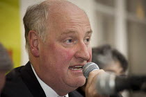 08-11-2012 - Councillor Richard Cornelius, Conservative leader of Barnet Council faces hostile questioning. Barnet Alliance for Public Services meeting called to to express resident opposition to the council's con... © Philip Wolmuth