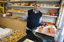30-04-2013 - Jain Gupta opened Gupta Confectioners in Drummond Street in 1983. His business is now within the Safeguarding Area immediately adjacent to the HS2 high-speed rail construction site at Euston station a... © Philip Wolmuth