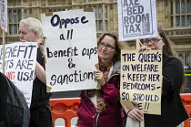 09-11-2014 - Demonstration outside Parliament on a national day of protest against bedroom tax, benefit sanctions and cuts. © Philip Wolmuth