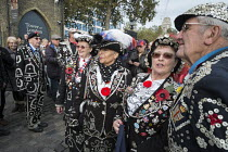 11-11-2014 - Pearly Queens and Kings from different London boroughs. Crowds mark Armistice Day at the Tower of London 100 years after the start of the First World War. © Philip Wolmuth