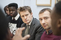 03-02-2015 - Actor and campaigner Charlie Condou with Tristram Hunt MP visiting Little Ilford School in Newham, London, to discuss the schools work with Stonewall on its campaign against homophobic bullying. © Philip Wolmuth