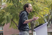 14-03-2015 - Podemos secretary general Pablo Iglesias at a rally in Malaga a week before Andalusian parliamentary elections in which the grassroots party is hoping to make significant gains. © Philip Wolmuth