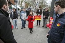 28-03-2015 - General election 2015: Tulip Siddiq, Labour candidate for Hampstead & Kilburn, the second most marginal seat in the UK, briefs campaigners before a canvassing session in Swiss Cottage, London. © Philip Wolmuth