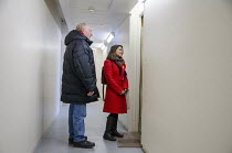 28-03-2015 - General election 2015: Neil Kinnock and Tulip Siddiq, Labour candidate for Hampstead & Kilburn, the second most marginal seat in the UK, canvassing voters in a social housing block in Swiss Cottage, L... © Philip Wolmuth