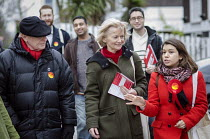 28-03-2015 - General election 2015: Neil and Glenys Kinnock with Tulip Siddiq, Labour candidate for Hampstead & Kilburn, the second most marginal seat in the UK, during a canvassing session in Swiss Cottage, Londo... © Philip Wolmuth