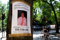 09-07-2005 - Russell Square, central London. Near the scene of the 7.July 2005 Russell Square Tube bombing a poster of a man missing since the bombing. © Joanne O'Brien
