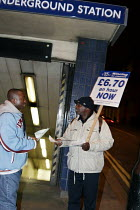 19-01-2006 - Tube Cleaners picket Paddington Tube Station , London to highlight their low pay and poor conditions. The picket was organised by the TGWU which is trying to unionise the tube cleaners.19.1.06 © Joanne O'Brien