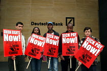 08-05-2006 - Cleaners seeking trade union recognition from Deutsche Bank protest outside the Banks London HQ. Deutshe Bank have recently announced record profits. © Joanne O'Brien