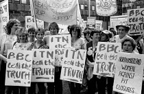 11-08-1984 - Miners Strike 1984 BBC tell the truth ITN tell the truth. Striking miners' wives and their families, Women Against Pit Closures. stage a national demonstration in London in support of the NUM national... © John Harris