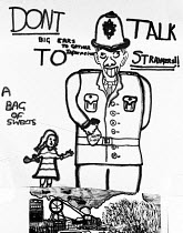 04-07-1984 - Miners Strike Kersley 1984 Childs drawing of Policeman, Don't Talk To Stranger Reflecting the sense of hatred felt by mining families to the massed police presence in their communites. Drawing made by... © John Harris