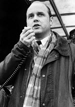 09-11-1983 - Stockport Messenger Colin Bourne speaking to the official picket line by NGA members on strike in a dispute with Eddie Shahs Messenger Newspaper Group over his use of non-union scab workers to typeset... © Stefano Cagnoni