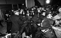 29-11-1983 - Stockport Messenger Police officers grapple with trade union members at a mass picket in support of NGA members on strike in a dispute with Eddie Shahs Messenger Newspaper Group over his use of non-un... © John Smith