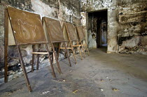 13-06-2008 - Blackboards in a burnt-out classroom, at Nahr al-Bared Palestinian refugee camp. © Ron Coelle