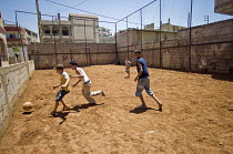 13-06-2008 - Children playing football at Nahr al-Bared Palestinian refugee camp. © Ron Coelle