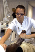 20-01-2005 - Beautician, apprentice - seen learning her craft at UK Skills Competition, Derby College © Roy Peters