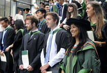 16-07-2014 - Maths Graduates lining up for a group photo after their Graduation ceremony at the University of Leeds. © Stefano Cagnoni