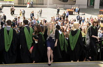 16-07-2014 - Maths Graduates set off after a group photo following their Graduation ceremony at the University of Leeds. © Stefano Cagnoni
