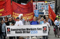06-09-2014 - Jarrow People's March for the NHS. After 300 miles the march arrives in London for a demonstration and rally in support of the National Health Service. UCAAT members on the march. © Stefano Cagnoni