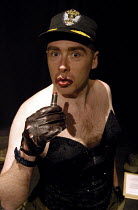 11-01-2003 - Actor Jamie Bower in his role of a US lipstick-wearing bomber pilot in Passion Pit Theatre's production of The Madness of George Dubya or Strangelove Revisited - a play staged in protest at the potent... © Stefano Cagnoni