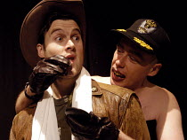 11-01-2003 - Actors Jonah Russell and Jamie Bower in their roles as US lipstick wearing bomber pilots in Passion Pit Theatre's production of The Madness of George Dubya'or Strangelove Revisited - a play staged in... © Stefano Cagnoni