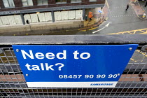 18-04-2005 - In an effort to persuade people not to commit suicide by jumping from the top of a high rise car park at the Arndale Centre in Manchester, the Samaritans have attached notices to the fencing, saying N... © John Sturrock