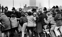 21-02-1985 - Miners wives picket Yorkshire Main pit, 1985 Yorkshire © John Sturrock