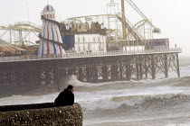 18-01-2007 - Brighton Pier, formerly the Palace Pier, during a winter storm. Brighton, UK 2007 © Howard Davies