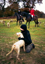 19-02-2005 - A fox hunting protester, sabotages a hunt by befriending one of the hunting dogs. © Howard Davies