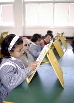 01-07-2003 - Palestinian children who are partially sighted at school at the Al Nour UNRWA centre for the visually impaired. Gaza 2003 © Howard Davies