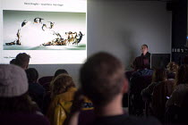 23-10-2012 - A tutor lecturing BA students on photomontage, one by Nick Knight. Photography lecture at Birmingham City University © Timm Sonnenschein