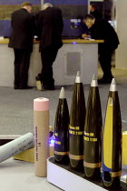 09-09-2003 - Artillery shells on display. Defence Systems and Equipment International Exhibition, Excel, Docklands © Paul Mattsson