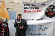 23-11-2015 - BBC Love It or Lose It Campaign. Fans of BBC TV programme Dr Who protest in support of the BBC outside Broadcasting House. Ex-Time Lord, actor Peter Davison, who played Dr Who from 1981-84, speaking t... © Stefano Cagnoni