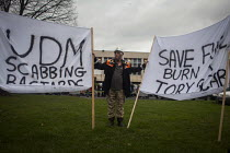 19-12-2015 - Save fuel burn a scab. Protest by miners and supporters the day after Kellingley colliery closed down, West Yorkshire. © Connor Matheson