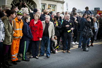 19-12-2015 - Gathering outside Knottingly Town Hall, Protest by miners and supporters the day after Kellingley colliery closed down, West Yorkshire. © Connor Matheson