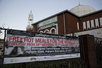 24-12-2015 - Birmingham Central Mosque, free hot meals for the homeless over the festive period. Christmas Eve, Birmingham. © Jess Hurd