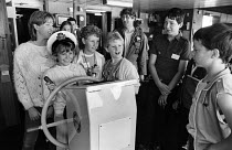 30-07-1984 - Miners Strike 1984 Miners children going on summer holiday to France, hosted by French trade union members in solidarity. Marie Widrington daughter of a striking miner at Selby Colliery, Yorkshire, at... © Stefano Cagnoni
