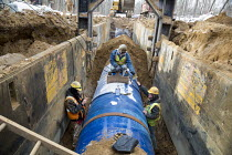 13-01-2016 - Michigan, Construction of a water pipeline for Flint, Michigan and surrounding areas. The pipeline will take water from Lake Huron through a 70-mile pipeline. © Jim West