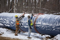 13-01-2016 - Columbiaville, Michigan, construction of a new water pipeline for Flint, Michigan and surrounding areas. The pipeline will take water from Lake Huron through a 70-mile pipeline © Jim West