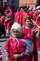 02-02-2016 - Oaxaca, Mexico Triqui ethnic group protest their displacement from their homes and the violence that prevades the area of western Oaxaca where they live. Many Triquis have been forced through poverty... © Jim West