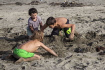 08-02-2016 - Children playing in the sand, Ten Mile Beach, Inglenook Fen Ten Mile Dunes Natural Preserve, MacKerricher State Park, California coast. © David Bacon