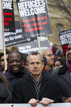 19-03-2016 - Jeremy Hardy, comedian and Weyman Bennett, UAF. Stand Up to Racism National Demonstration - Refugees Welcome, Stand Up to Racism, Islamaphobia, anti-Semitism and fascism. Central London. © Jess Hurd