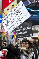 19-03-2016 - Stand Up to Racism National Demonstration, protesters opposing about 20 Britain First nationalists. Refugees Welcome, Stand Up to Racism, Islamaphobia, anti-Semitism and fascism, London. © Jess Hurd