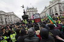 19-03-2016 - Stand Up to Racism National Demonstration, protesters opposing about 20 Britain First nationalists. Refugees Welcome, Stand Up to Racism, Islamaphobia, anti-Semitism and fascism. Eros, Piccadily Circu... © Jess Hurd
